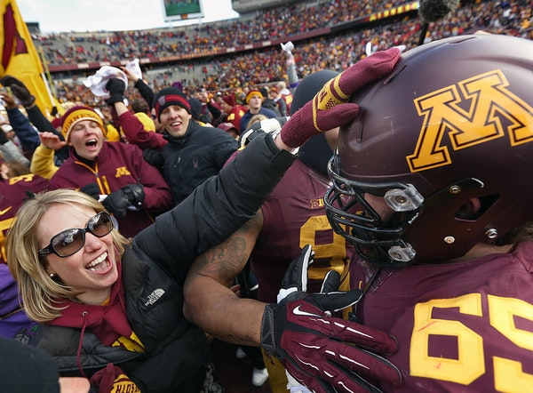 Gophers offensive lineman Josh Campion was caught in the postgame hysteria after last October's 34-23 victory over Nebraska at TCF Bank Stadium. Thi