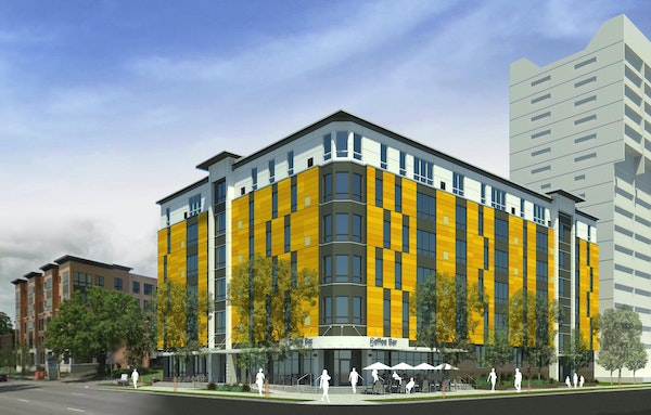 A rendering of Fourth Street Housing Cooperative, at 4th Street and 13th Avenue SE. in Minneapolis' Dinkytown neighborhood.
