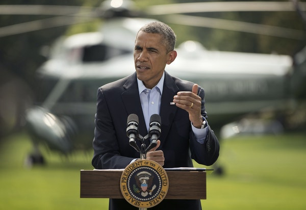 President Obama spoke about the situation in Iraq before his departure on Marine One on Saturday for a vacation in Martha's Vineyard.