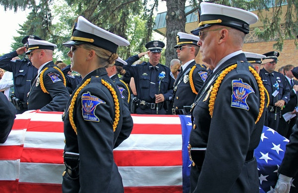 The funeral for Mendota Heights police officer Scott Patrick was held at St. Stephens Lutheran Church on Wednesday morning.