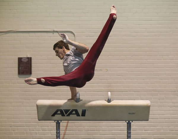 Ellis Mannon practiced his routine before this weekend's U.S. gymnastics meet in Pittsburgh.