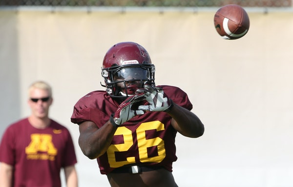 De'Vondre Campbell caught the ball during Gophers football practice. The 6-5 Campbell gained 20 pounds in preparation of this season at linebacker.