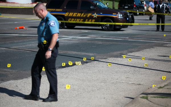 Shell casings littered S. 8th Street after shots were fired at Hennepin County Medical Center in downtown Minneapolis on Tuesday afternoon.