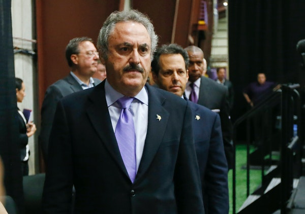 Minnesota Vikings owners Zygi Wilf, left, and his brother Mark Wilf arrived at an 11 a.m. new conference.