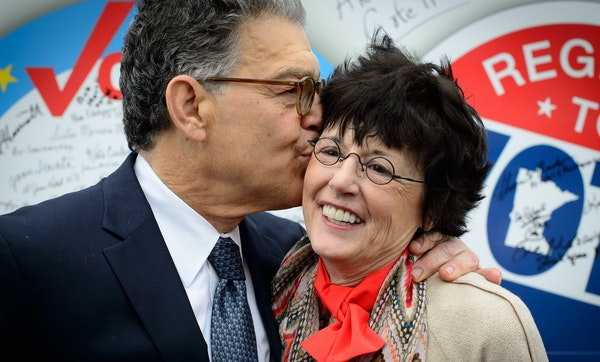 """Senator Al Franken kissed his wife, Franni, at a """"Nuns on the Bus"""" town hall event on the importance of elections. Al and Franni will celebrate their"""