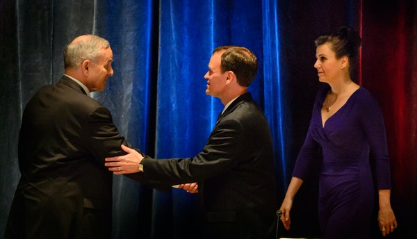 After the first debate in the governor's race, the hopefuls lined up Wednesday night in Rochester. From left were DFL Gov. Mark Dayton, the GOP's Jeff