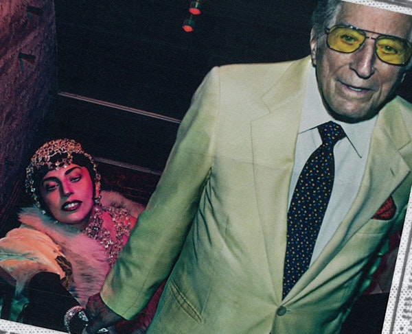 """right: Gaga in Be's headpiece and matching $40,000 top on the """"Anything Goes"""" cover with Tony Bennett."""