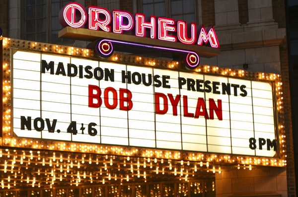 Bob Dylan's name on the marquee of the Orpheum Theatre in Minneapolis, a venue he used to own.