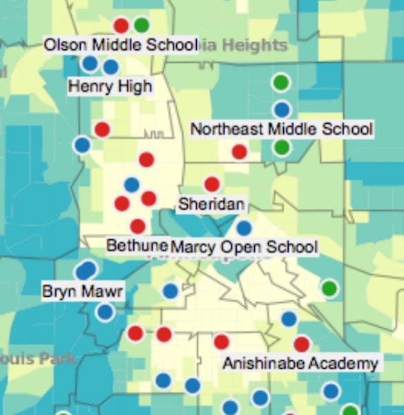 Map: Teacher performance in Minneapolis
