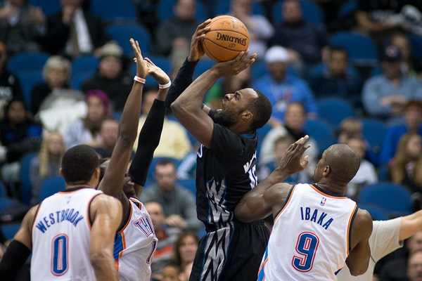 Wolves forward Shabazz Muhammad put up a shot against the Thunder last month.
