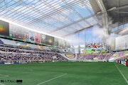 A rendering of how the new Vikings stadium would look when it was set up for an MSL match with the upper level curtained off with large panels and adv