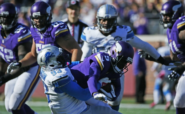 George Johnson and the rest of the Lions teed off on Vikings quarterback Teddy Bridgewater on Oct. 12.