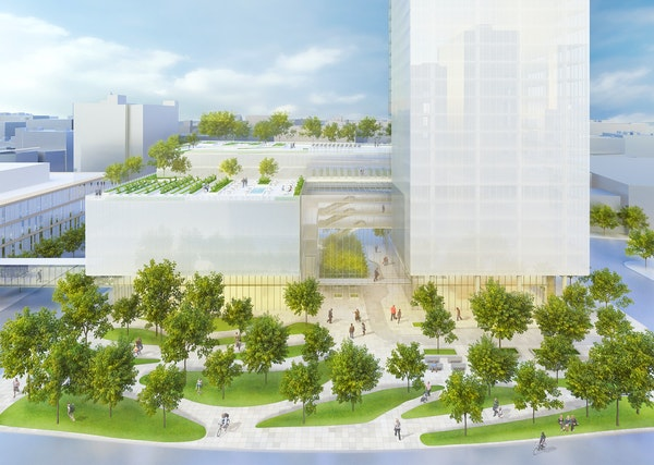 This rendering of Nicollet Gateway Plaza features landscape architecture design by David Motzenbecker of Cuningham Group.