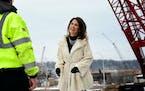 Rep. Michele Bachmann, R-Minn., toured the St. Croix River bridge site, which she called her biggest legislative accomplishment.