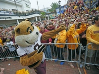 Led by Goldy Gopher, Minnesota fans cheered during a team pep rally at the Citrus Bowl Pep Rally, Wednesday, December 31, 2014 in Orlando, FL.