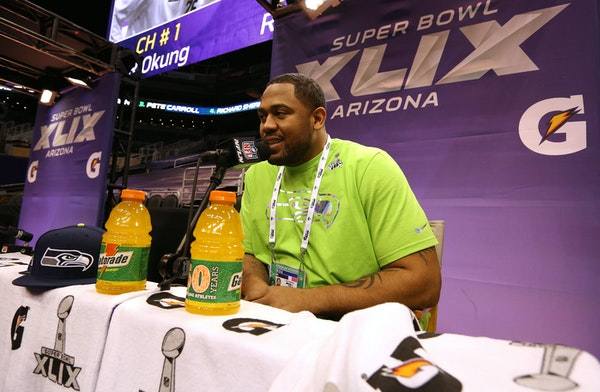 Seattle Seahawks defensive tackle Kevin Williams answers questions during the NFL Super Bowl media day, Tuesday, Jan. 27, 2015 in Phoenix. (AP Photo/D