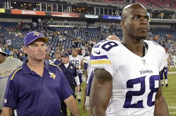 Vikings coach Mike Zimmer and running back Adrian Peterson.