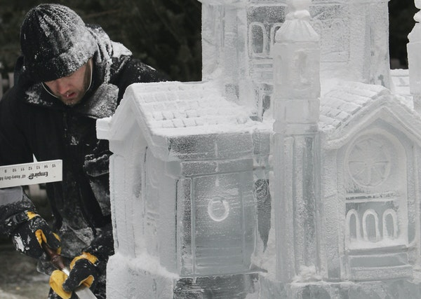 In 2013, ice carver Trevor Pearson of Minneapolis worked on an ice carving of the Cathedral of St. Paul in Rice Park in St. Paul.