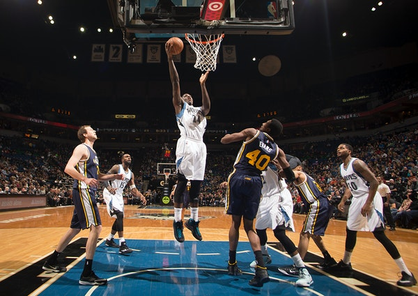 Minnesota Timberwolves forward Anthony Bennett (24) scores in the paint against the Utah Jazz in the first half.