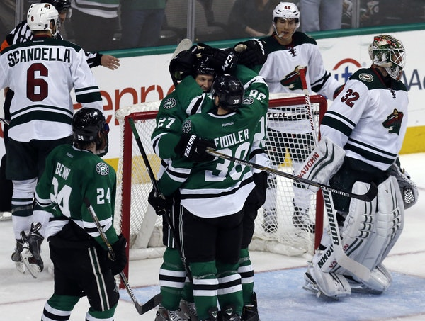 The Dallas Stars celebrated often Saturday night in a 7-1 rout of the visiting Wild. All goalie Niklas Backstrom — who entered the game after Darcy