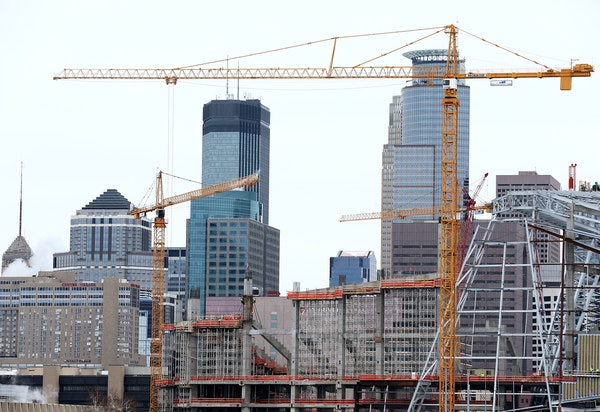 The Downtown East area of Minneapolis is full of construction, led by work on the Vikings stadium.