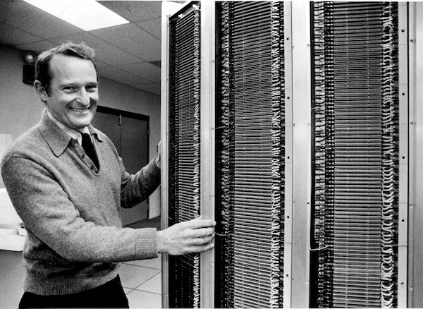 Seymour Cray showed off the Cray-1 supercomputer built in 1976 by Cray Research in Chippewa Falls, Wis. Cray revolutionized computing, ramping up prod