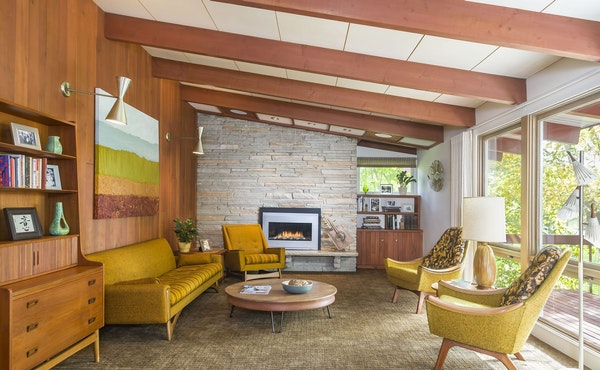 The Brandts have furnished their home with vintage finds, some of which came with the house. See more photos — both old and new — of this 1950s ge