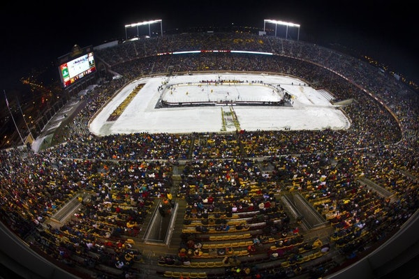 TCF Bank Stadium hosted the Minnesota Gophers men's hockey team's game against Ohio State in 2014.