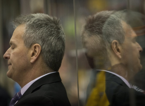 Gophers coach Don Lucia showed his disappointment recently at Mariucci Arena when an opponent scored a third period goal. Minnesota is in a 4-9-3 slum