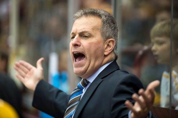University of Minnesota men's hockey head coach Don Lucia, earlier in the season against Ohio State.