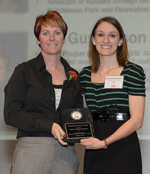 (Top) Raquel DeBeltz-Bushman, left, received an award at Minnesota Girls and Women in Sports Day from Sara Eisenhauer. (Bottom) Gov. Mark Dayton spoke
