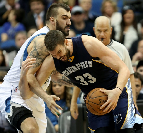 Wolves center Nikola Pekovic, guarding Grizzlies counterpart Marc Gasol on Saturday night, barely played in the second half against Memphis because of