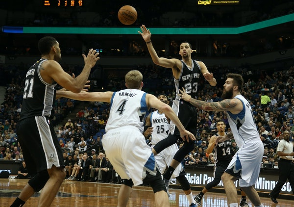Austin Daye made a pass to Tim Duncan during the first half Saturday against the Timberwolves.