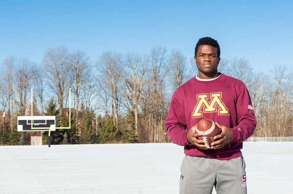Jonathan Femi-Cole, Gophers running back recruit, from St. Andrew's College in Aurora, Ontario.