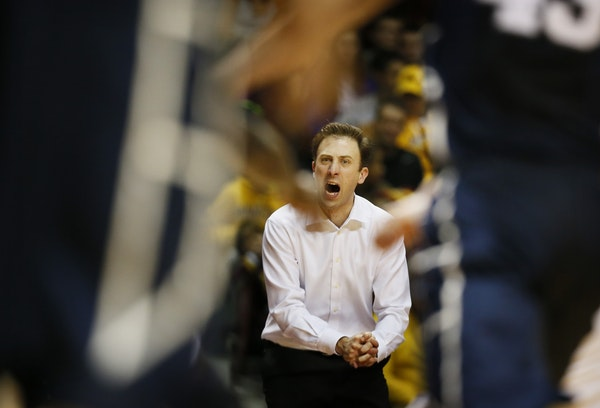 Minnesota coach Richard Pitino shouted instruction to his team in the second half. Minnesota lost to Penn State79-76 at Williams Arena Sunday March 8,