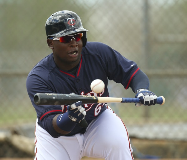 A scene you don't figure to see much outside of spring training: Miguel Sano laying down a bunt.