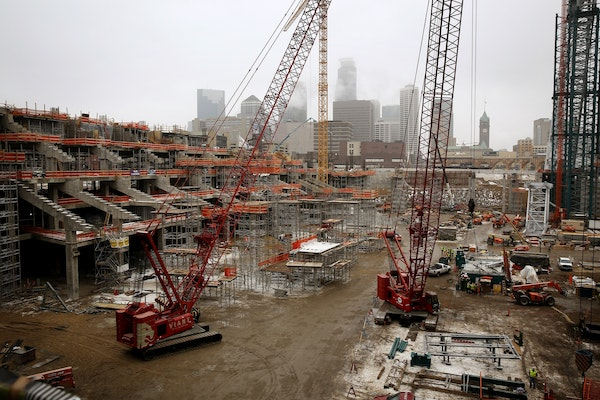 Construction continued at the Vikings stadium, being built by M.A. Mortenson, in December.
