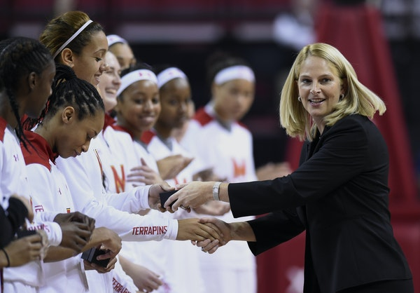 Maryland coach Brenda Frese presented her team with its 2014 Final Four rings. The fourth-ranked Terrapins will be the heavy favorites in the Big Ten