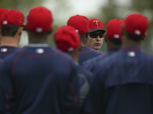 Twins manager Paul Molitor addressed the team on a practice field near the end of a recent morning workout at Hammond Stadium.