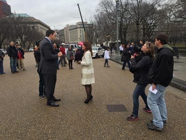 "Mchele Bachmann on the set of ""Sharknado 3"" Wednesday in Washington, D.C."