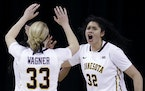 Minnesota center Amanda Zahui, right, celebrates with guard Carlie Wagner after Purdue guard Andreona Keys missed a pass during the second half of an