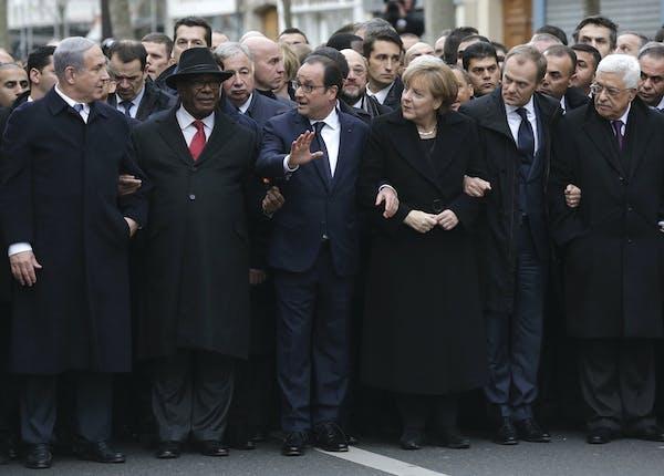 From left, Israeli Prime Minister Benjamin Netanyahu, Mali's President Ibrahim Boubacar Keita, French President Francois Hollande, German Chancellor