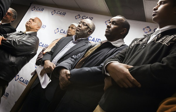 Members of the local Muslim community — including, from right, Mahmud Kanyare, Oumer Wako and Hassan Mohamud — raised concerns about a new Departm