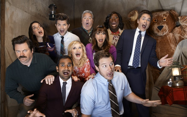"""The Season 5 cast of """"Parks and Recreation."""""""