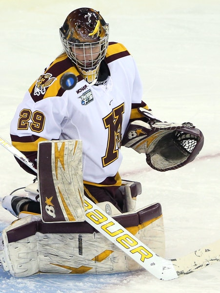 Gophers goalie Amanda Leveille is 26-3-3 with a .945 save percentage, third best in the nation.