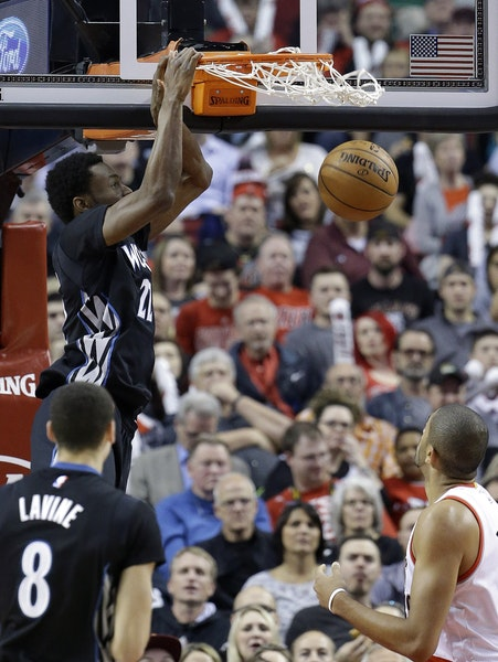 Highlight among lowlights Wolves forward Andrew Wiggins scored over Trail Blazers forward Nicolas Batum, on his way to a team-high 29 points Wednesday