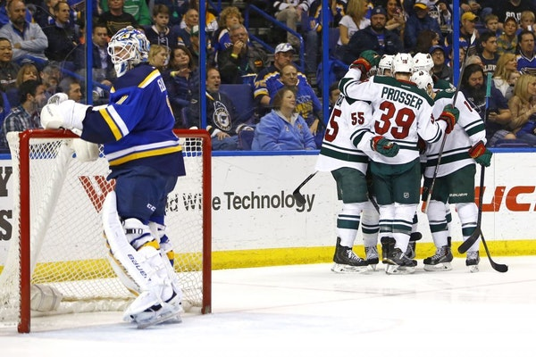 St. Louis Blues goalie Brian Elliott reacts as members of the Minnesota Wild celebrate a goal scored by Thomas Vanek during the second period of an NH
