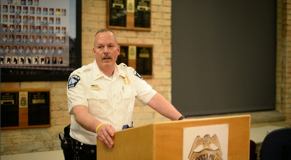 Minneapolis Police First Precinct Commander Mike Kjos held a news conference on violence in downtown Minneapolis Tuesday night.