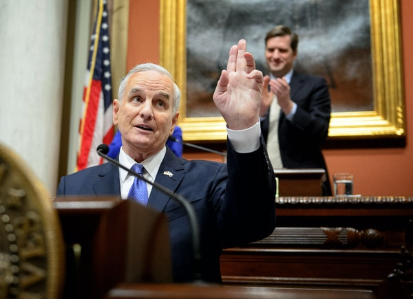 Governor Mark Dayton received warm applause in the House Chamber as he delivered his 2015 State of the State address at the Minnesota State Capitol, S