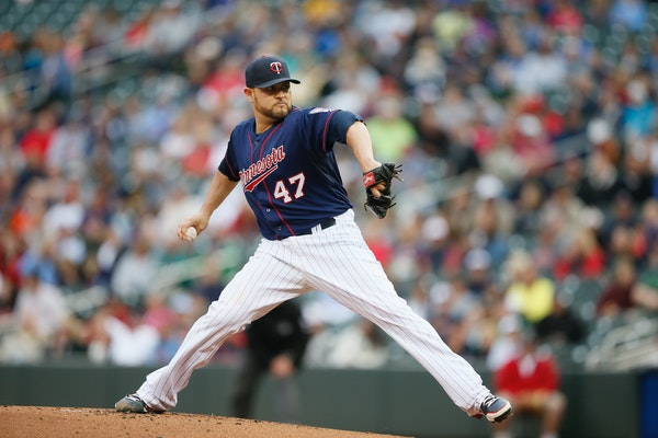 Twins Ricky Nolasco threw a pitch at Target Field in Minneapolis on Wednesday July 1, 2014.